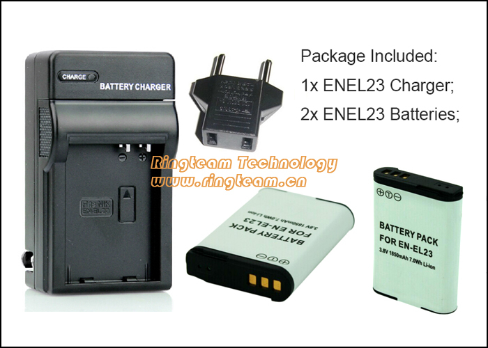2Pcs ENEL23 EN EL23 EN-EL23 Battery and 1Pc Charger (3-In-1) MH-67 MH67 1Pc for Nikon COOLPIX P600 P610 P900 and S810c Cameras(China (Mainland))