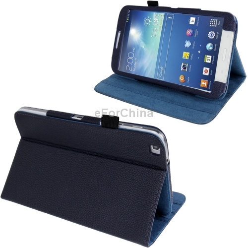 Lichi Texture Leather Case with 3-angle Adjustment Viewing Holder for Samsung Galaxy Tab 3 (8.0) / T3110 / T3100 Dark Blue<br><br>Aliexpress