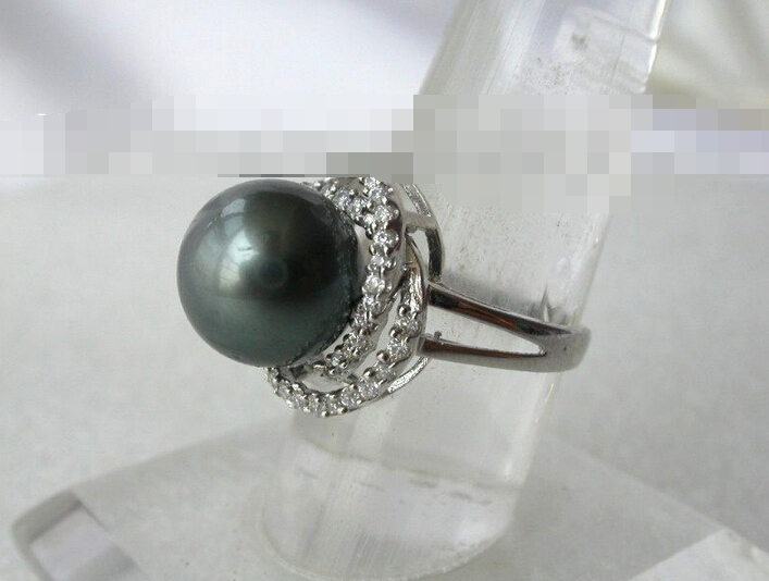 00555 round black south sea pearl ring<br>