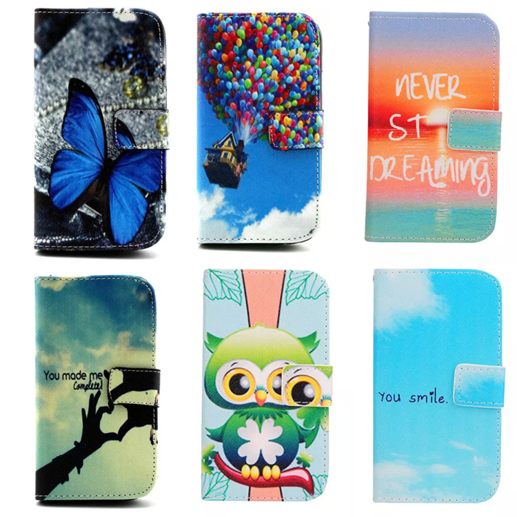 For samsung galaxy s3 case flip leather wallet cartoon Patterns Phone Case For samsung galaxy s3 neo case cover stand Card slot(China (Mainland))