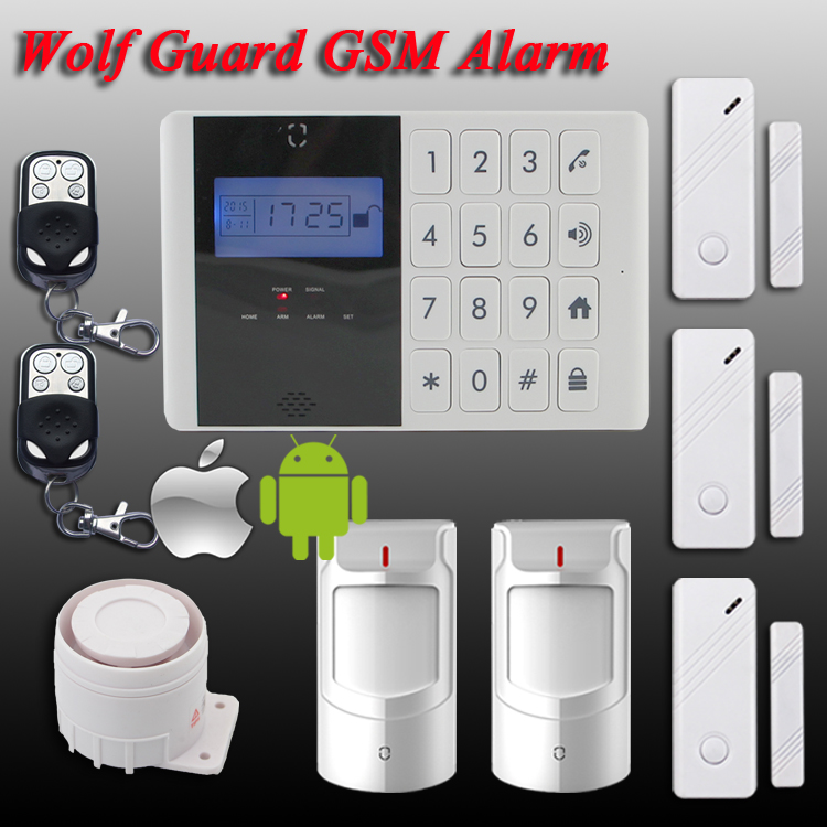 DHL Free Shipping!Wolf-Guard LCD display screen 99 Wireless Zone GSM SMS Home Security Voice Burglar House IOS Android APP Alarm