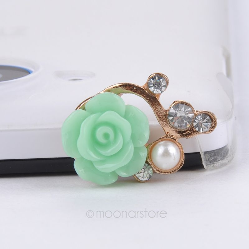 1pcs Rhinestone Rose Flower 3.5mm Anti dust Dirt-resistant Earphone Jack Plug Adapter to Phone Stopper Cap for Iphone 5 5s 5c(China (Mainland))