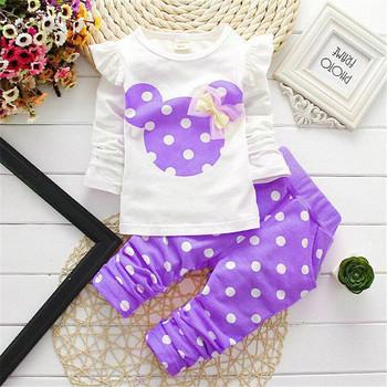 2016 Baby Girl Set Dot Long Sleeve Cotton For Baby Girl Clothes Baby Suits (Sport) Children Set T-Shirt+Pant Girl Set 3Colors