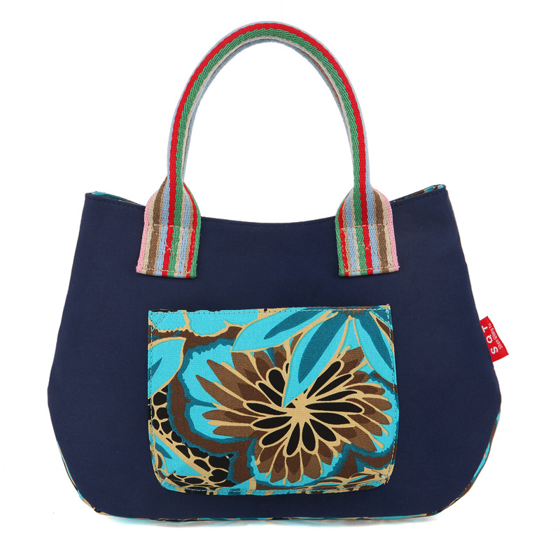 JF-U 2016 Simple Style Casual Tote Women Cotton Canvas Bag Single Female Shoulder Shopping Bags Vintage Floral Printed Beach Bag(China (Mainland))