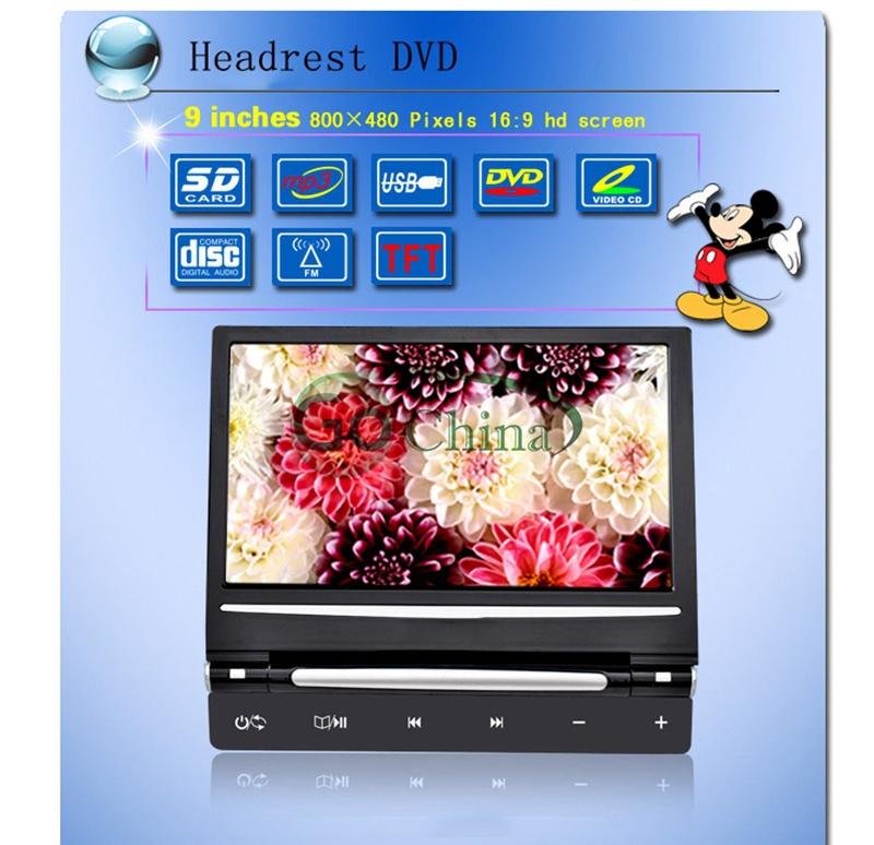 9 inch Car DVD player headrest DVD +MP5+MP4+MP4 +IR Transmit +FM Transmit+AVin+Monitor+Game,support USB/SD,Headrest Monitor DVD(China (Mainland))