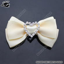 Fashion Lady's Gold Fabric Bow Clip-On Rhinestones Shoe Decoration Clip Wedding Shoe Decor Free Shipping(China (Mainland))