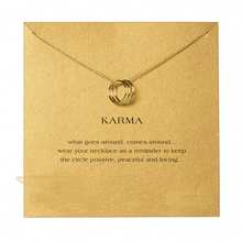 Sparkling Triple Karma Circle Necklace Gold Dipped Pendant Clavicle Necklace18k Moon Shape Statement Necklace Women Jewelry(China (Mainland))