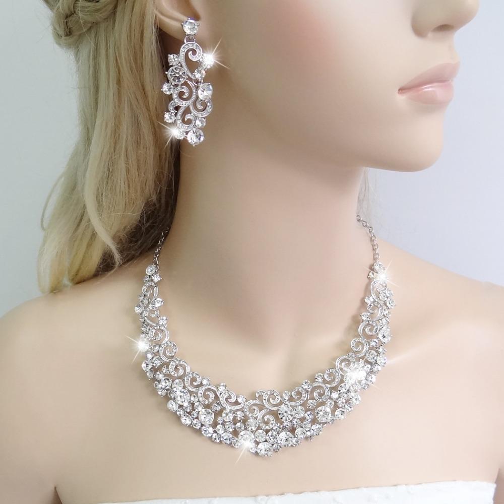 2015 BELLA Sparkling Curve Rhinestone Wedding Necklace Set Austrian Crystal Jewelry Set For Bridal Bridesmaid For Women Gift