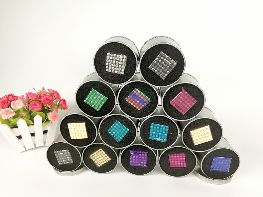 216pcs 5mm neodymium magnetic balls spheres beads magic cube magnets puzzle birthday present for children - with metal box(China (Mainland))