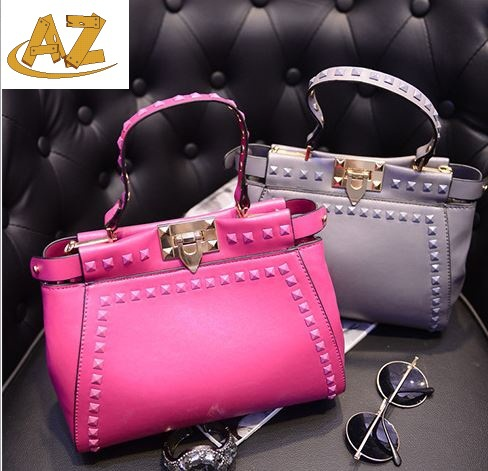 2015 new fashion buckle rivet candy colored handbag single shoulder bag factory direct sale  -  Shenzhen AZ trading Co., Ltd store