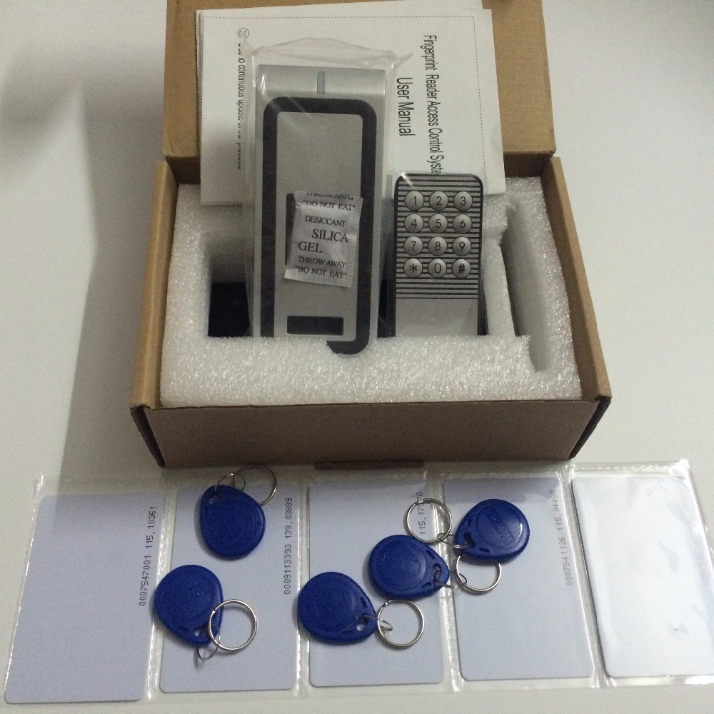 Full metal Fingerprint Biometric access control system rfid reader door access control +5pcs id card +5pcs id keyfob(China (Mainland))