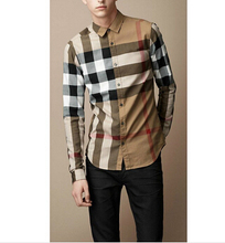 2015 free shipping Famous Luxury Brand Men's Shirt Plaid Checker Men Clothing Long Sleeve Top Quality Big Size 819 On Sale(China (Mainland))