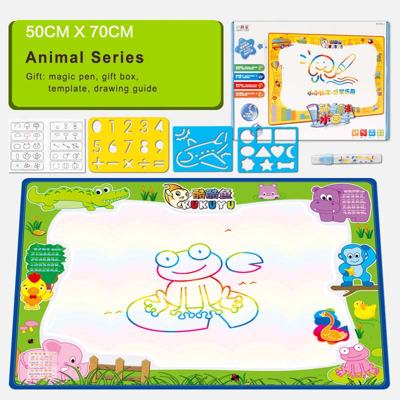 Water Drawing Mat With Magic Pen & Drawing Templates Learning Education Drawing Toys Kids Aqua Doodle Aquadoodle Water Painting(China (Mainland))