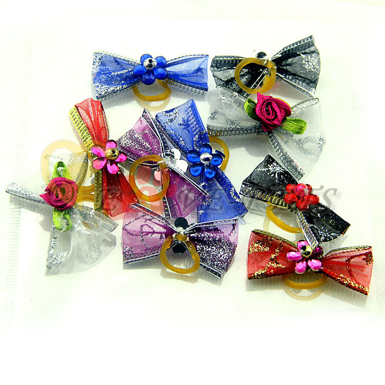 2 PCS Sweety Flower Beyond Wholesale Boutique Pet Hair Bows V1066(China (Mainland))