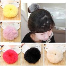 Colorful Fur Rabbit Hair Ring Super Elastic Hair Bands Women Hair Accessories Hair Donut(China (Mainland))