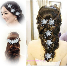 handmade bride hair accessory the wedding hair accessories lace white flowers hair maker pearl hair accessories(China (Mainland))