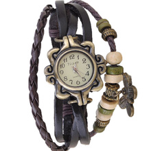 Braided Watches Women Top Brand Luxury Multi-Layer PU Leather Beads Butterfly Wrist Watch Vintage Bracelet PMHM356*50