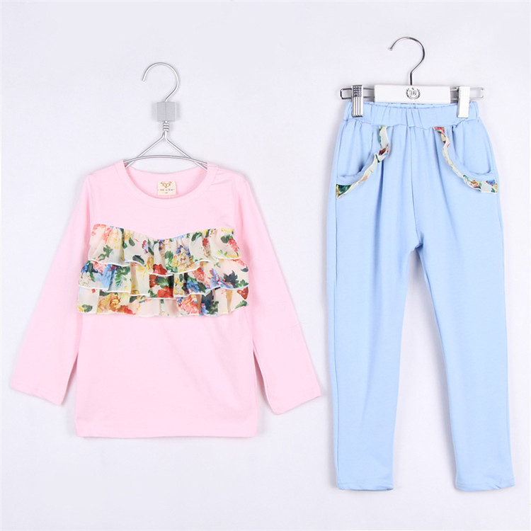2015 spring new style pretty girls small floral prints long T-shirt and haren pants clothing sets kid girls casual dress A1799(China (Mainland))