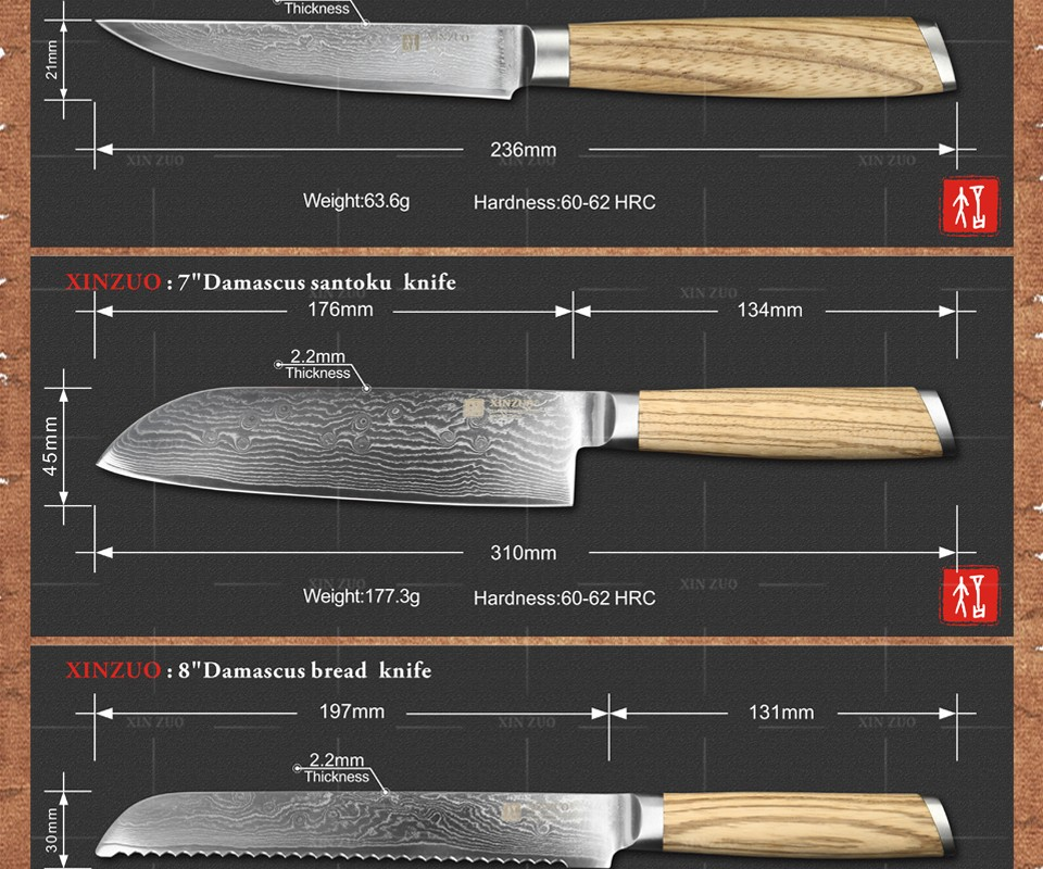 Buy XINZUO 5 pcs kitchen knife set Damascus kitchen knife Japanese VG10 chef cleaver utility knife logs wood handle free shipping cheap