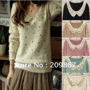 Wholesale Ladies' O-neck pullover sweater, lovely pullover  freeshipping black, beige, green, blue, pink, red LC190