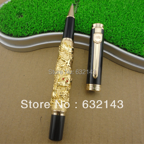 Luxury Golden Chinese Ming Dynasty Emperor Style Dragon Play Roller Ball Pen Fine Tip(China (Mainland))