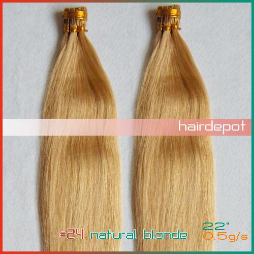 "free UPS 22"" #24 Itip Hair Extensions Human 0.5g/s natural blonde tangle free i-tip Hair Extensions Keratin Real Hair Mixable(China (Mainland))"