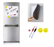 A4 Size Magnetic White Board for Fridge 2 Pens 2 Magnets Home Kitchen Message Notepad Sticker Flexible Vinyl Whiteboard(China (Mainland))