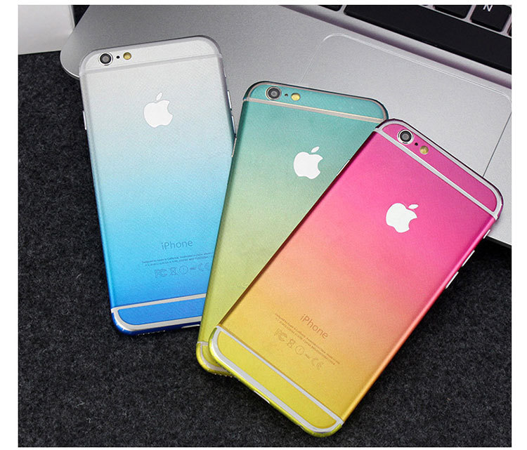 DIY Slim Rainbow Shade Colors Full Body Skin Protection Back Cover Case Sticker For iphone6/6S 6plus Cellphone Decal Film(China (Mainland))