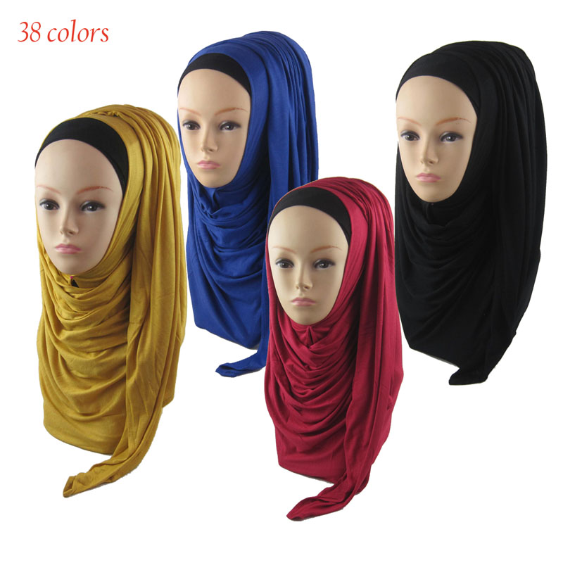 2016 New arrival Muslim Hijab Cotton Jersey Solid Long Adult Bonnet Women's Hijabs 36 Colors180*80cm Islamic Scarf ch001z15(China (Mainland))
