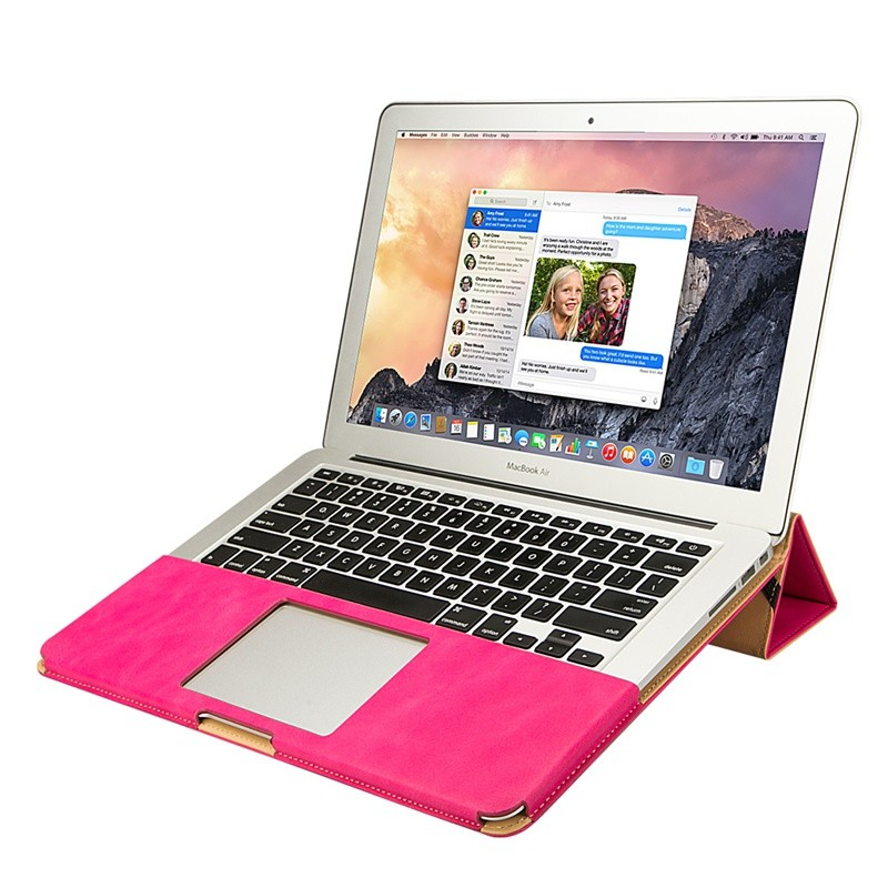 ถูก JisoncaseซองหนังPUสำหรับMacBook Air Pro Retina 11 12 13 15นิ้วแล็ปท็อปแขนหรูหรายืนปกที่เดินทางมาพักผ่อนกระเป๋า
