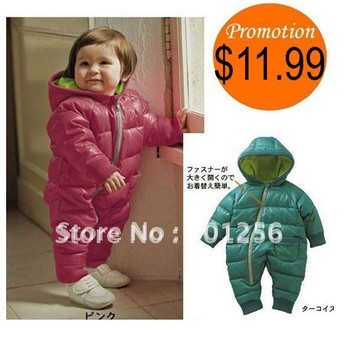 Promotion!!Free shipping 2014 Retail fashion Baby Romper for winter cotton padded one piece children kids jumpsuit 6m-2yrs