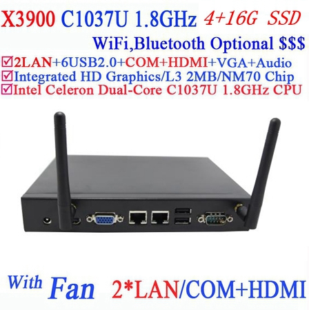 compact pc with alluminum chassis 2 Nics HDMI RS232 INTEL C1037U dual core 1.8Ghz CPU 4G RAM 16G SSD 3D API support DirectX 11(China (Mainland))
