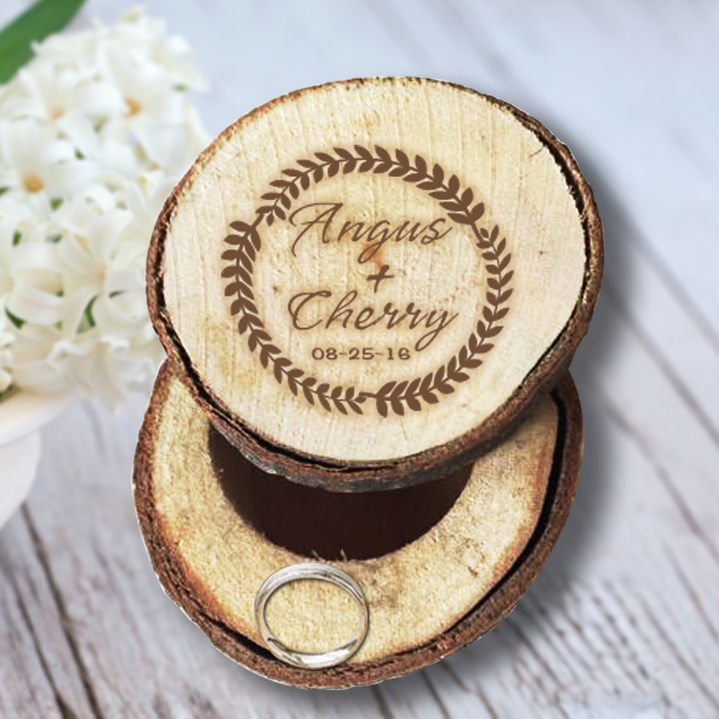 Personalized Wedding & Anniversary Gift Romantic Wood Ring Box Authentic Quality and Size A Wreath of Flowers Custom Name & Date(China (Mainland))