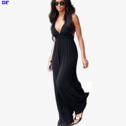 High Waist Maxi Dress Women Plus Size Long Summer Dresses 2015 Sexy Vestidos De Festa Red Deep V Elegant Party Dresses Robe Long