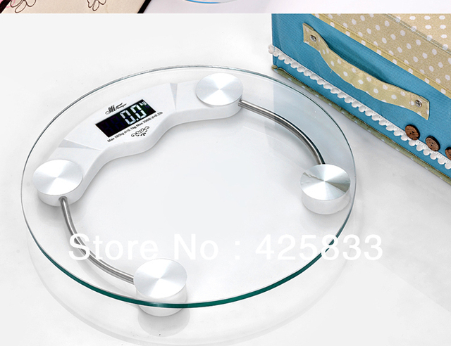 150KG Clear Tempered Glass Round Digital Body Health Scale with LED Figure Digital Weighing Scale Body Scales Wholesale