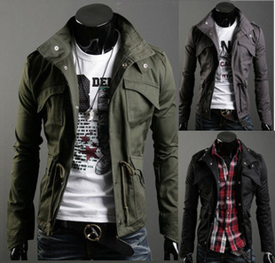 Free Shipping 2015 New Slim Sexy Top Designed Mens Jacket Coat Colour:Black,Army green,Gray,Wholesale&Retail,hot 27004(China (Mainland))