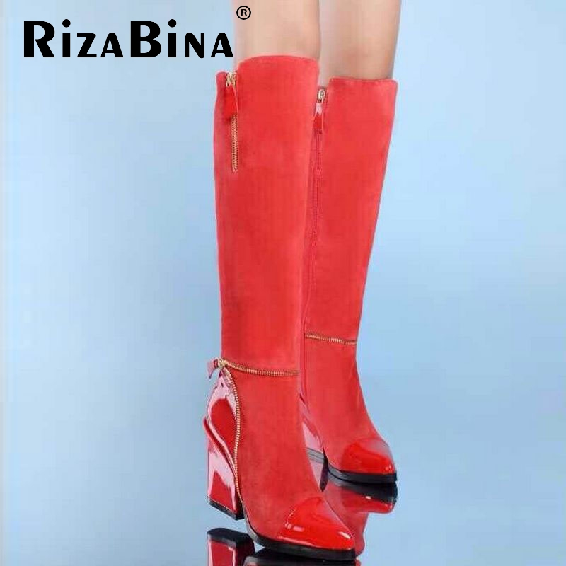 Фотография size 31-45 women real genuine leather high heel over knee boots winter warm riding long boot quality sexy footwear shoes R8304