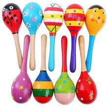 1Pcs Wooden Maraca Wood Rattles Kids Musical Party favor Child Baby shaker Toy Hot Baby Baby Rattles  Mobiles(China (Mainland))
