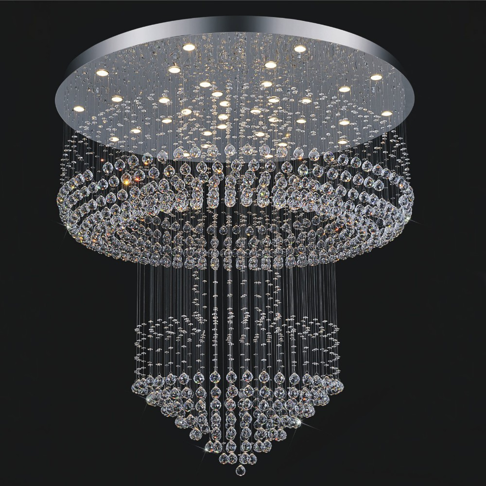 Free shipping luxury modern crystal chandelier lighting hotel light dia80 h200cm large - Can light chandelier ...