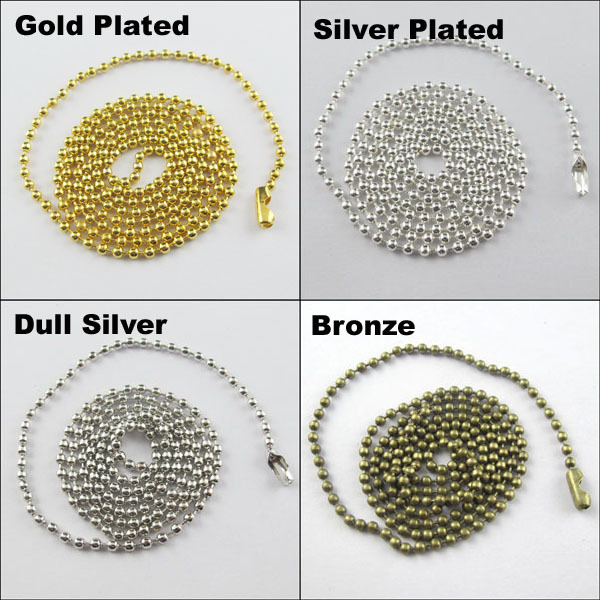 """Free Shipping 20Strands 80cm-32"""" 2.4mm Ball Chain Necklace Beads W/Connector Gold Silver DullSilver Bronze Wholesale(China (Mainland))"""