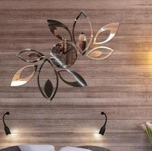 Funlife(TM) Silver Creative Rhombus Leaves Leaf Wall Clock Mirror Fashion Modern Removable DIY Acrylic 3D Wall Decal DIY wc1146(China (Mainland))