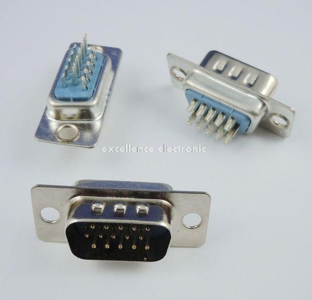 100 Pcs D-SUB 15 Pin Male Solder Type Plug Adapter VGA Connector Serial ports DB15M(China (Mainland))