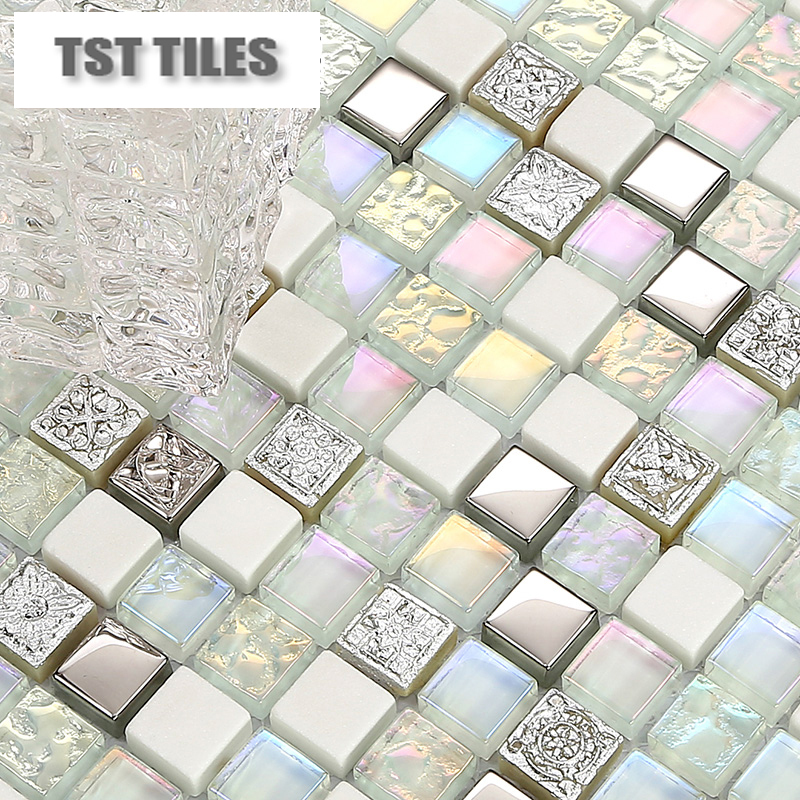 white stone glass tiles kitchen backsplash mosaic art iridescent