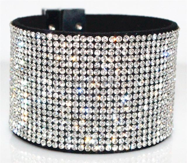 Бесплатная доставка продажи новый полный кристалл / горный хрусталь браслет кожаный ...