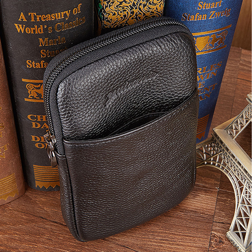 2017 New Men Genuine Leather Crocodile Grain Vintage Cell/Mobile Phone Cover Case skin Hip Belt Bum Fanny Pack Waist Bag Pouch