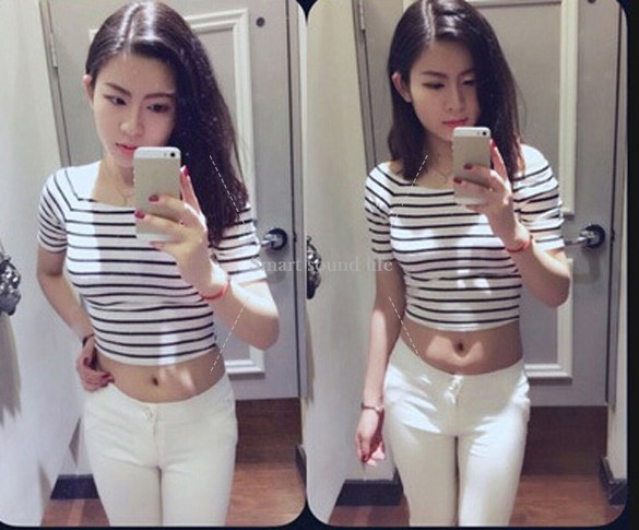 New 2014 Modal Cotton Crop Top Camisetas Blusas Short Sleeve Plus Size T-shirt Tight-fitting T Shirt Cropped Tops For Women(China (Mainland))