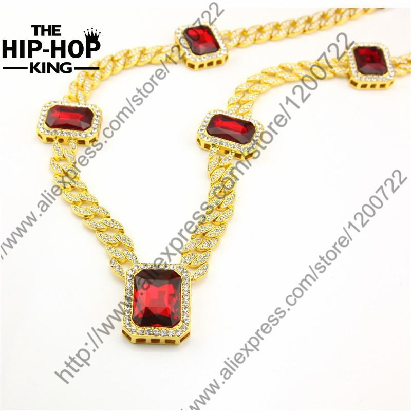 "Bling Bling Chain Mens 14k Gold Plated Iced Out Red Ruby Octagon Hip Hop Pendant 30"" Chain Necklace(China (Mainland))"