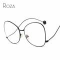 ROZA Sunglasses Women Read Glasses Mirror Lens Copper Frame Brand Designer Oversized Sun Glasses UV400 QC0486