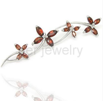 Garnet brooch pins 925 sterling silver Natural red garnet Free shipping 0.09ct*8pcs 0.25ct*8pcs gems Flower brooch #16080223
