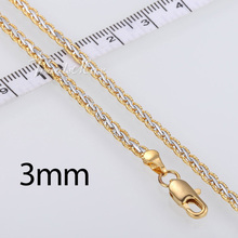 3 4mm Yellow White Gold Filled GF Womens Mens Chain Unisex Hammered Braided Wheat Link Wholesale